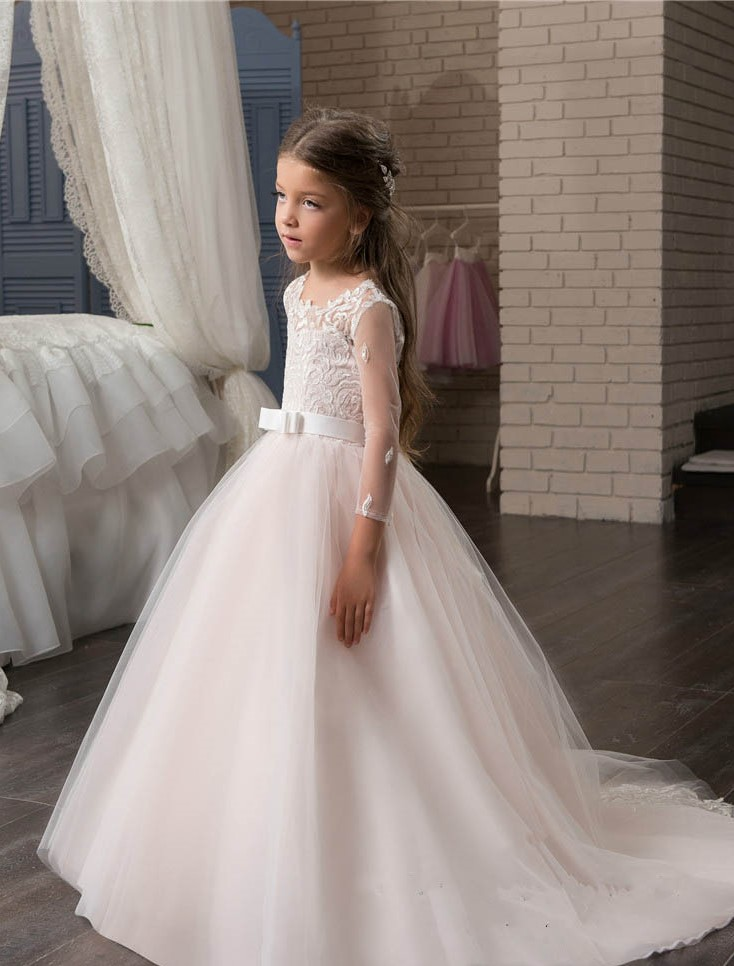 Blush Pink Princess Tutu Sequined Appliqued 2017 Vintage Flower Girl Dresses for Wedding Lace Bow First Communion Dresses