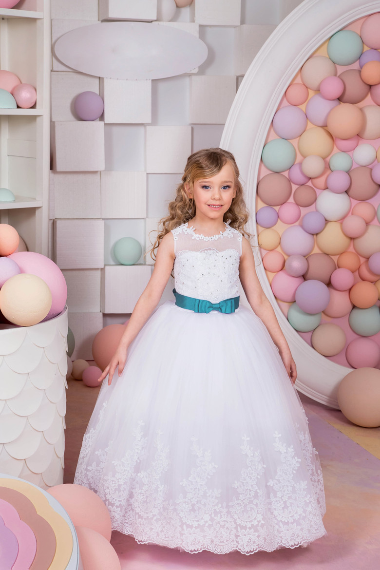 New Arrival First Communion Gowns Blue Belt Beading Sleeveless Ball Gown Flower Girl Dresses for Wedding Vestidos Party Dress