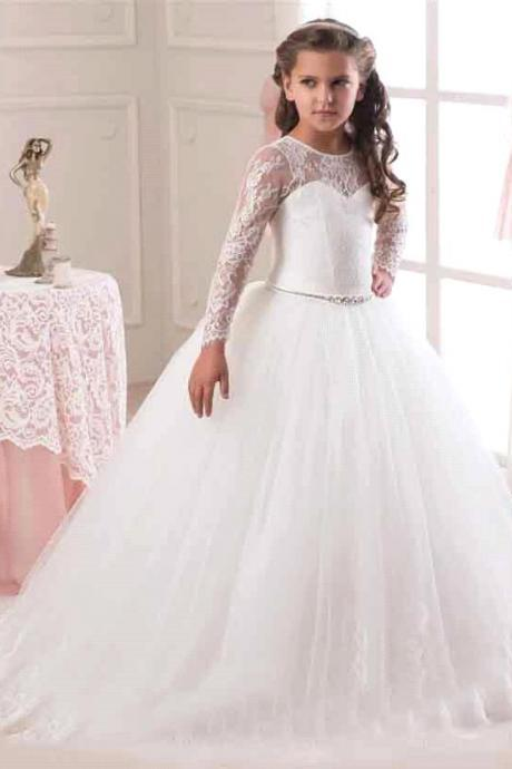 2017 Hot Sale Long Sleeve Flower Girl Dresses for Weddings Lace First Communion Dresses for Girls Pageant Dresses White Ivory