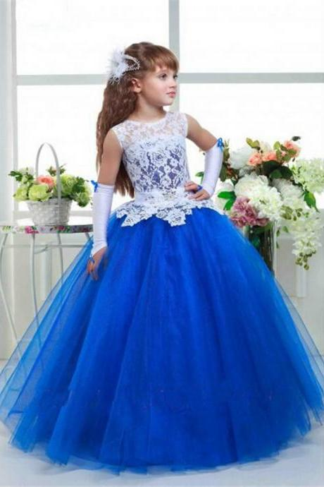 2017 Royal Blue Flower Girl Dress Ball Gown Tulle Sashes Beaded Kid Evening Gown Pageant Dresses For Little Girls Vestido Daminha