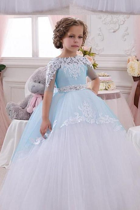 2017 Half Sleeves Ball Gown Flower Girl Dresses O-Neck Appliques Crystal Spring Pretty Flower Girls Dress Kids Prom Gowns