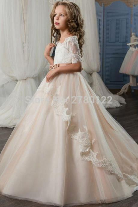 2017 White Holy Communion Dress with Lace Sleeves Bow Sash Champagne Puffy Tulle Ball Gown Prom Dress for Girls