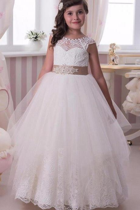 2017 Flower Girl Dresses Ball Gown Jewel -neck Cap Sleeve Tulle Appliques Lace Button Back First Communion Dresses For Girls