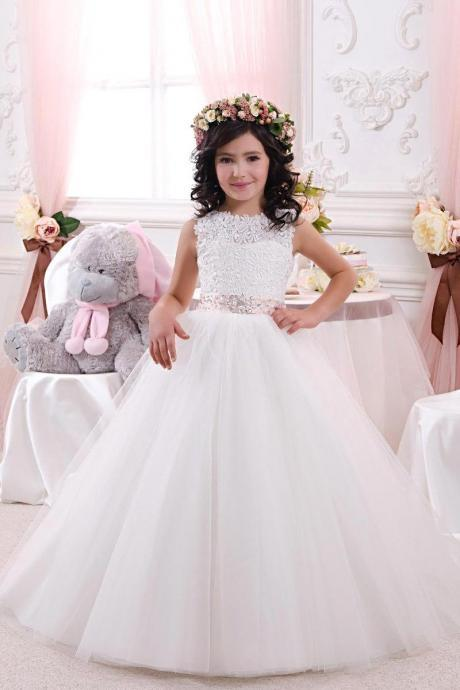 2017 Lace Bow Girls Pageant Dresses First Communion Dresses Beautiful WhiteIvory Ball Gown Flower Girl Dresses For Weddings