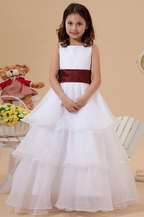 Vestidos De Comunion Charming Scoop White Organza Tiered Floor Length Ball Gown Flower Girl Dress For Weddings Sleeveless Sashes