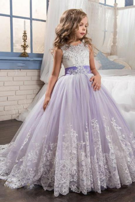 2017 Princess Lilac Little Bride Long Pageant Dress for Girls Glitz Puffy Tulle Prom Dress Children Graduation Gown Vestido