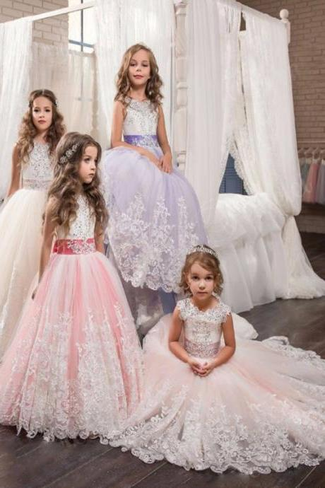 Girls Ball Gown Lace Pageant Dresses for Girls Glitz Holy Communion Dresses Bow Graduation Gowns Children Flower Girl Dress