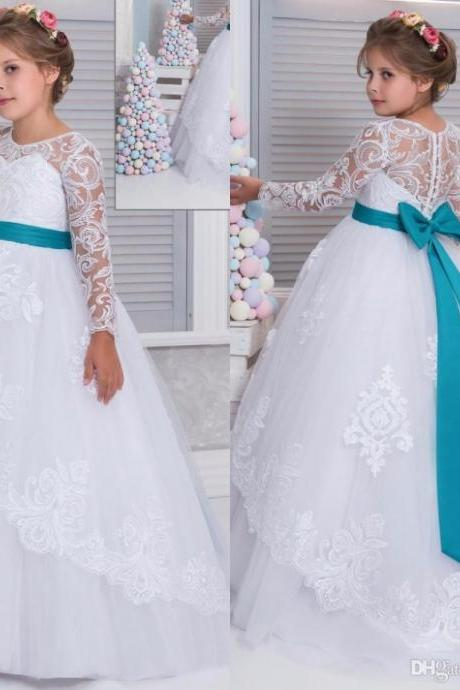 2017 Lace Arabic White Blue Long Sleeve Flower Girl Dresses for Weddings Ball Gown Girls Pageant Gown First Communion Dress