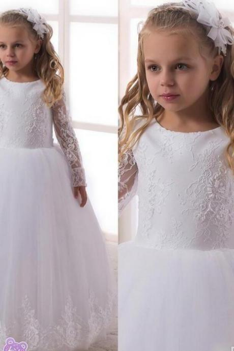 2018 Lovely White Long Sleeves Flower Girls Dresses For Wedding Jewel Lace Zipper Ball Gown Tulle Communion Dress