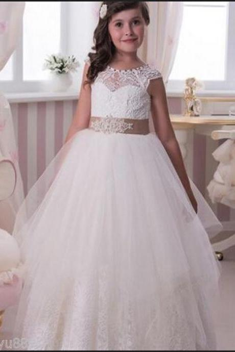 2018 New Princess Flower Girl Dresses with Sashes Ball Gown Party Pageant Dress for Little Girls KidsChildren Dress for Wedding