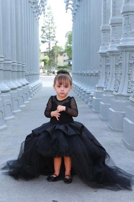 Brand New Black Flower Girl Dresses with Long Sleeve Little Girls KidsChild Dress Party Pageant Communion Dress for Wedding