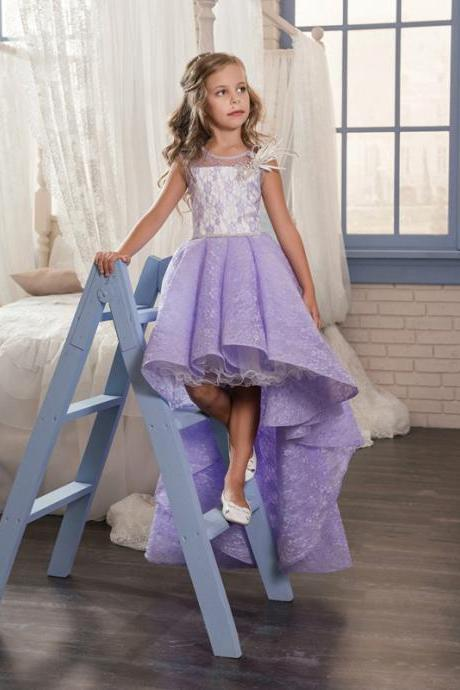 2018 Lace Princess Floor Length First Communion Dresses Purple Elegant Birthday Graduation Party Gowns