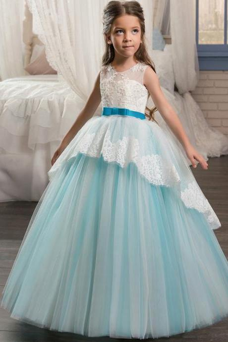 Scoop Neckline Pageant Party Dresses for Girls 8 Bow Sash Children Graduation Gown Lace Hem Corset Long Kids Puffy Prom Dress