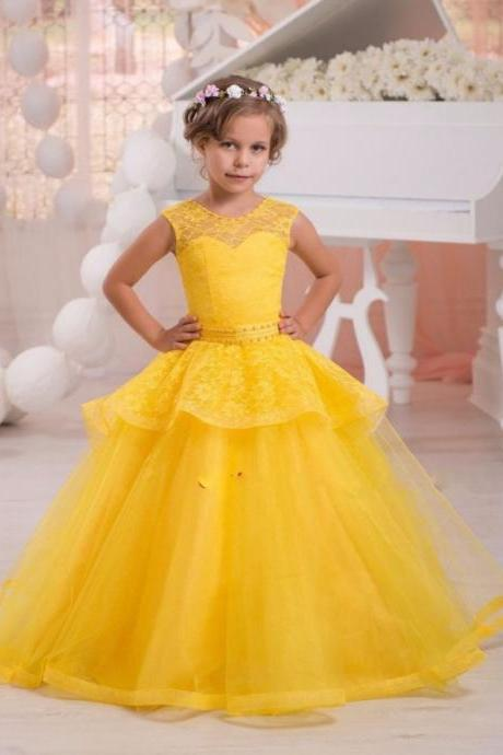 2018 New Arrival Yellow Lace Tulle Ball Gown Ruffles Flower Girl Dresses Beading Sashes Autumn Pretty Flower Girls Dresses