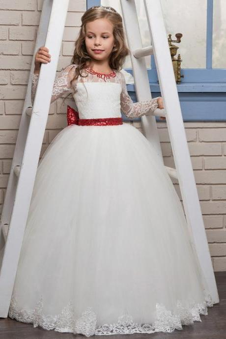 Long Sleeves Lace Christmas Pageant Dresses for Girls Size 8 10 12 Elegent Dresses for Flower Girl White and Red Sequin Ribbon