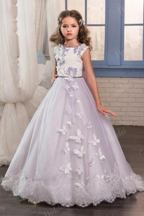 2018 Princess Purple Lace Flower Girls Dresses For Weddings Beads Appliques First Communion Gowns Floor Length Custom Made