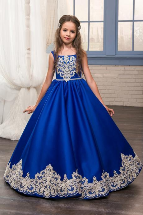 2018 Royal Blue Flower Girl Dresses O-Ncek Appliques Sleeveless Ball Gown Formal Bow Sashes First Communion Gowns Vestidos Longo