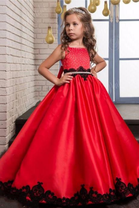2018 Flower Girls Dresses for Weddings Appliques Girls Pageant Dress Red Children Prom Dresses Formal Party Gown Free Shipping