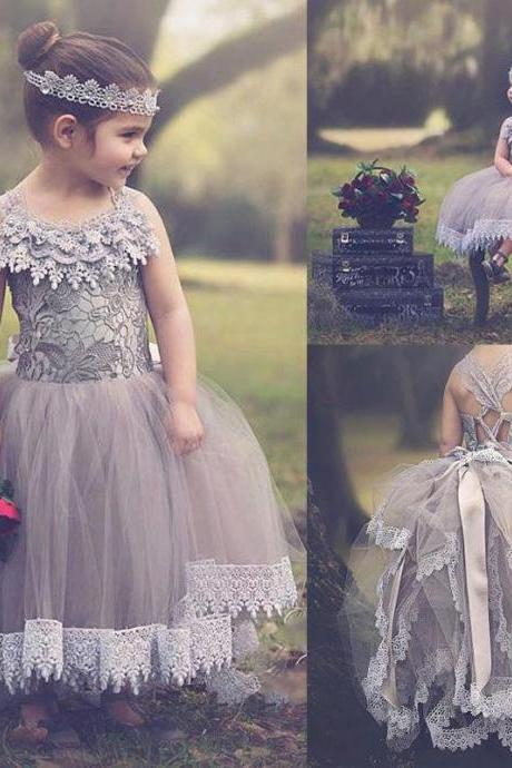 2017 New Purple Halter Lace Flower Girl Dresses For Girls Dressy Tulle Long Applique Evening Prom Gowns for Kids Comunion