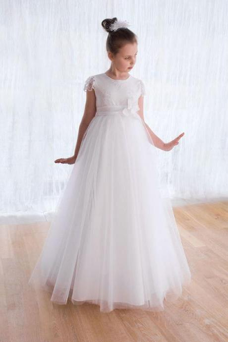 New Arrival Holy First Communion Dresses for Girls Cap Sleeve Lace Flower Girl Dresses for Weddings Vestidos de Comunion