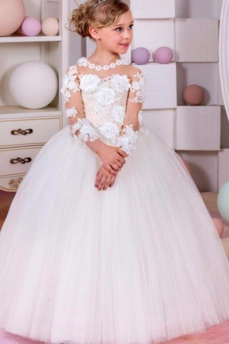 Pageant Dresses For Little Girls Long Sleeve Ball Gown Sexy Children Images Flower Girl Dresses Kids Prom Dresses