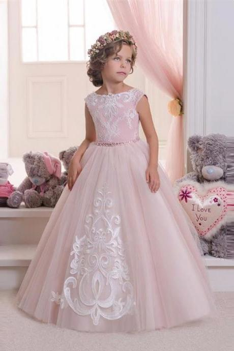 Hot Pretty Pink Lace Flower Girls Dresses For Weddings And Party Ball Gown Tulle Appliques Tank Cheap Girls Long Pageant Dress