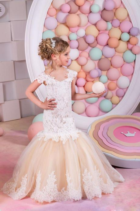 Sexy Children Images Mermaid Lace Applique First Communion Dresses For Girls Champagne Short Sleeves Flower Girl Dresses