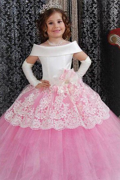 2018 Pageant Girls Dresses Aline Boat Neck Tulles Flower Girls Dresses Appliques Comunion Kid Wear Vestidos dedaminha
