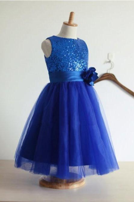 2018 A-line royal blue glitter sequin flower girl dress with handmade flower blue little girls party sequin dress tulle skirt