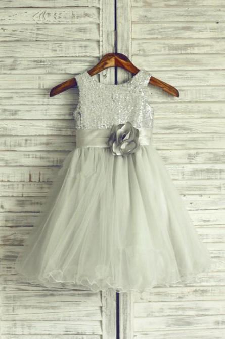 a-line glitter silver sequin dress for little girls applique sash tulle skirt long children prom sequin dress for kids