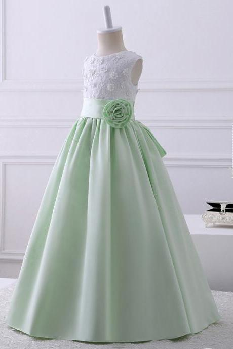 2018 Real Pics Lace Appliques Flower Girl Dresses Scoop Neckline Sleeveless Floor Length Kids Wedding Party Gown Custom Made