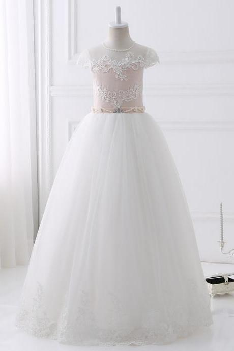 Hot Sale Real Pics Lace Appliques Beading Flower Girl Dresses Floor Length Short Sleeves Kids Wedding Party Gown With Sash