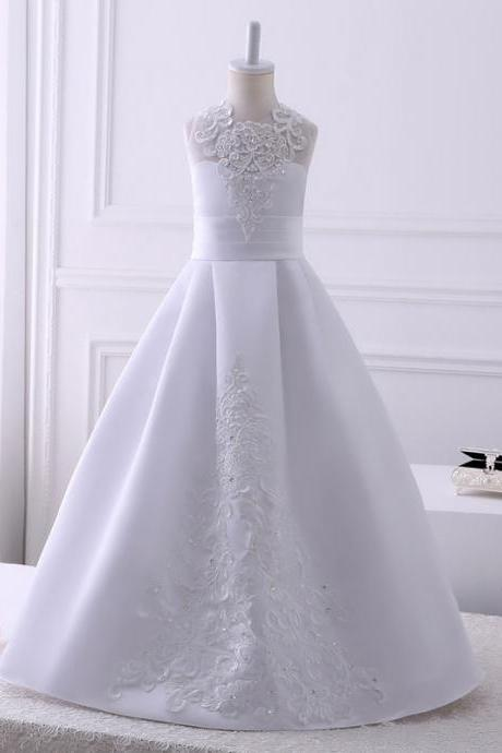 2018 Real Pics Lace Appliques Flower Girl Dresses For Wedding Floor Length Sleeveless Kids Wedding Party Gown Custom Made