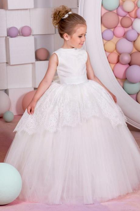 Flower Girl Dresses Appliques Ball Gown Sleeveless O-Neck Back Bow Solid New Hot First Communion Dresses Vestidos De Comunion