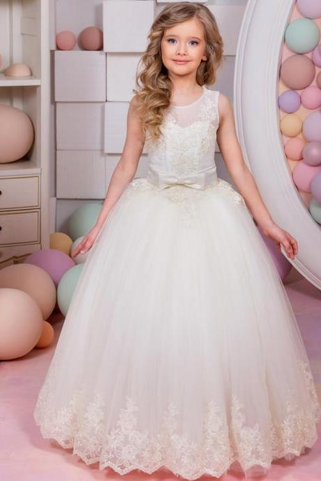 2018 New Arrival Flower Girl Dresses Sleeveless Lace Up Bow Belt Ball Gown First Communion Gowns Vestidos Longo for Weddings