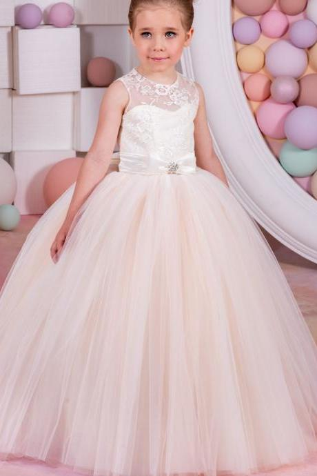 2018 New Pageant Dresses for Girls Glitz White and Ivory Lace Up Bow Sashes O-neck Sleeveless Ball Gown Formal Flower Girl Gowns