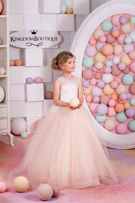 2018 New Blush Little Girls Pageant Dresses Child Detachable Train Ball Gown Kids Flower Girl Dresses for Weddings