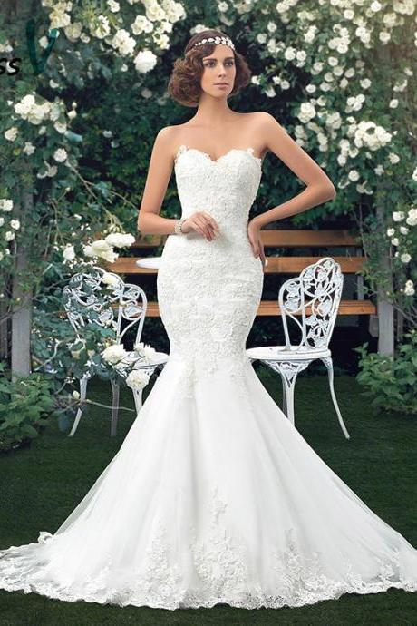 Charming Applique Bridal Gowns Mermaid Lace Wedding Dresses Sweetheart Trumpet floor length vintage wedding dress girl