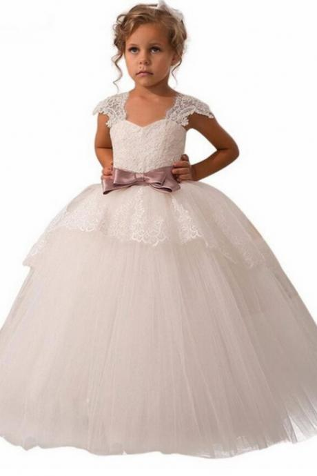 2018 Flower Girl Dresses For Weddings Ball Gown V-neck Tulle Appliques Lace Bow First Communion Dresses For Girls
