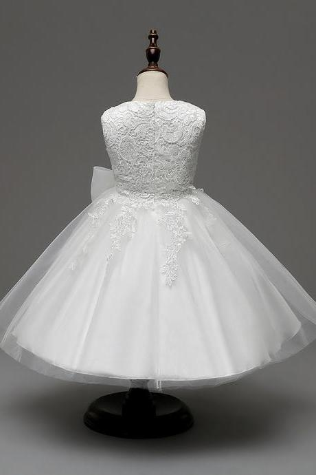 2018-Cute-O-Neck-Sleeveless-Flowers-Girls-Dresses-Bow-Appliques-for-First-Communion-Lace-Ball-Gown