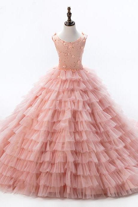 2018 Baby Peach Pageant Dresses For Girls Glitz Flower Girl Dresses Sleeveless Ball Gowns Girls Communion Dress