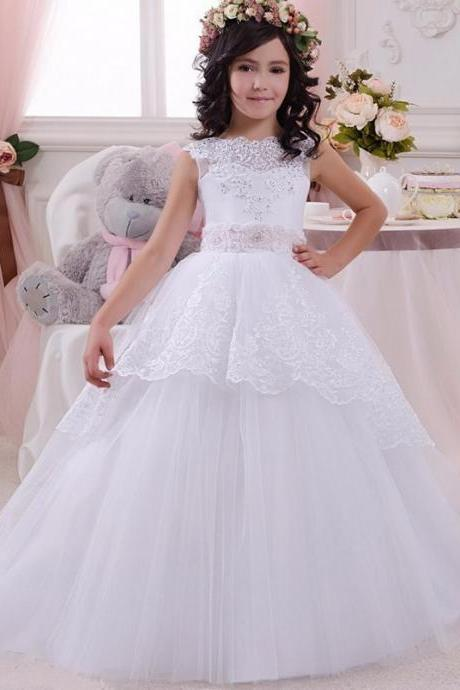 2018 White Lace Ball Gown Flower Girl Dresses Lovely Pink Sashes Tulle Beading First Communion Dresses for Girls