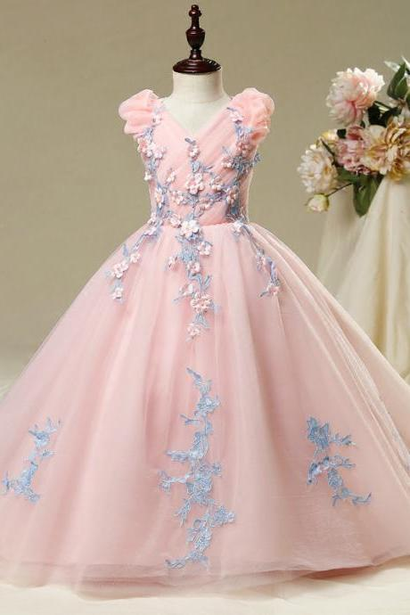 SSYFashion New Sweet Pink Lace Flower Girl Dresses for Wedding The Children's Princess Catwalk V-neck Long Train Party Gowns