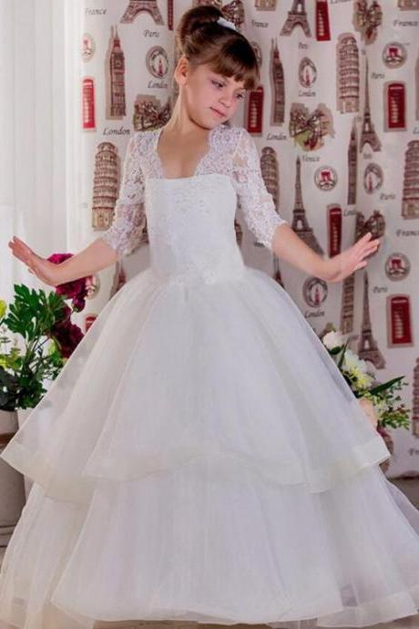 2018 New Flower Girl Dresses Appliques Ball Gown Three Quarter Sleeves Tiered Puffy Custom Made First Communion Pageant Gowns