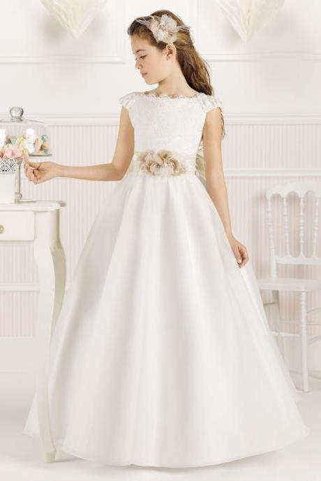 2018 A-Line Scoop Flower Girl Dresses Sleeveless Floor-Length Embroidery Cap Sleeves Satin first communion dress for girls