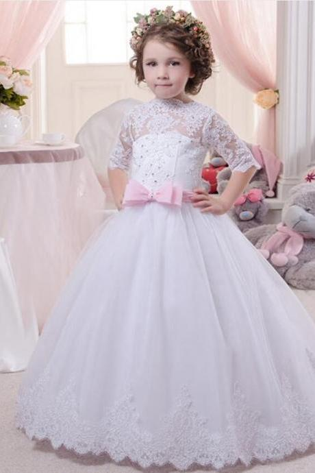 Elegant White Romance Lace Up Strapless Appliques Key Hole Soft Tulle Ball Gown Cap Sleeves Communion Dresses 2-12 Year Old