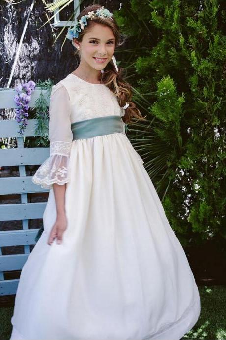2018 New Fashion Flower Girl Dresses For Wedding Lace Sleeves With Ribbon Birthday Party Communion Gowns