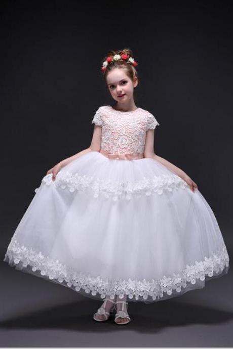 2018 Real Photo Appliques Lace Short Sleeve Flower Girl Dress With Bow For Kid's Party Ball Gowns First Communion Custom Made