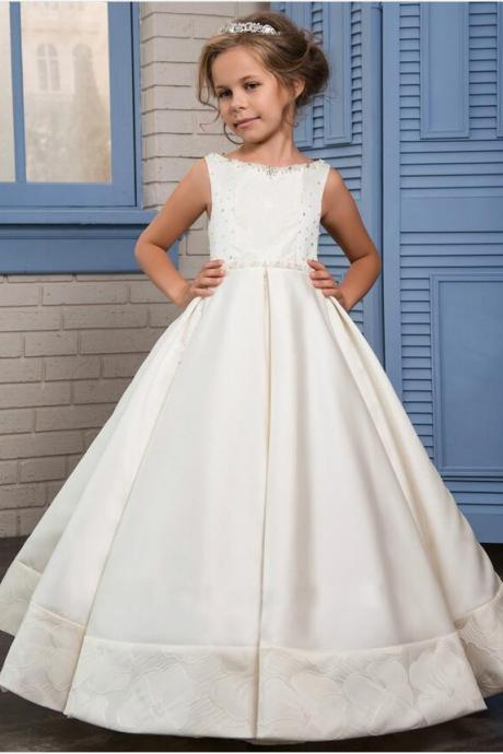 Elegant Flower Girl Dress White Ball Gown with Beads Sleeveless Floor Length First Communion Dress For Christmas For Christmas