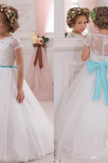 2018 Lovely White Flower Girls Dresses for Weddings with Turquoise Bow Sash Princess Ball Gown Lace Kids Wedding Dress
